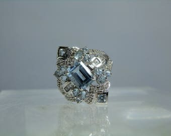 Vintage Aquamarine Diamond 10k White Gold Ring Size 7 Amazing Ornate Design Emerald Cut Gemstone Excellent Condition DanPickedMinerals
