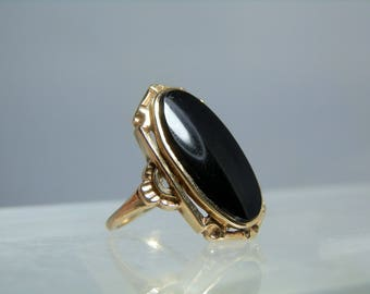 Vintage Gold Ring Black Onyx 10k Yellow Gold Size 4.5 Ring DanPickedMinerals