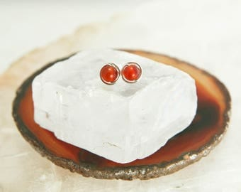 Tiny Carnelian Stud Earrings - Sterling Silver Burnt Orange Gemstone Rounds - Passion, Courage, Success, Healing