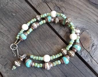 Turquoise Bracelet Beaded Bracelet Double Strand Bracelet Mixed Metal Bracelet Green Bracelet Southwestern Boho Ethnic Wood Bracelet Earthy