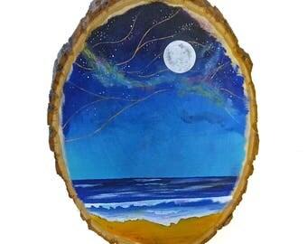 Beach wood sign, night beach art, ocean nursery art, beach decor, wave painting, ocean art decor, ocean nursery decor, ocean painting