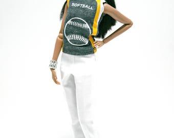 Softball Shirt and White Pants for Barbie Fashion Royalty Dolls
