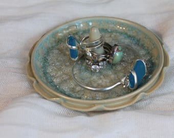 Ring Dish - Green with glass - Jewelry dish - gift for collage student