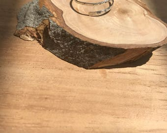 silver delicate hammered ring
