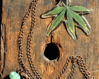 Real Cannabis Leaf in Resin Necklace, Antique Copper Tone