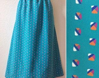 1980s skirt, geometric print skirt, turquoise blue skirt, polka dots, secretary skirt, 1980s vintage skirt, large skirt, knee length, 80s