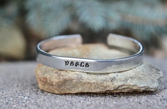 Peace Bangle Bracelet, Peace Bangle cuff Inspirational bracelet Inspirational Word Bangle Simple Bangle Cuff Simple Silver peace bangle cuff