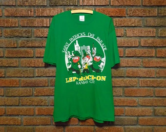 Vintage 90s Kansas City Saint Patrick's Day Parade Lep - Rock - On T-Shirt Men's L