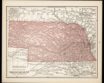 Small Nebraska Map of Nebraska State Map (Vintage Atlas Wall Art Print, 1900s Antique Wall Decor) Vintage Old Color Map No. 71-3