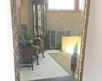 Antique Mirror, Bevelled Mirror with Gesso Frame