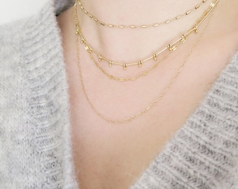 Collier multirangs  3 chaînes // The  3 layers necklace
