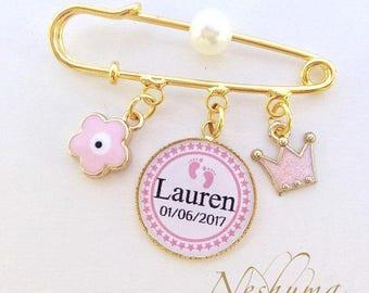 Personalized Baby Gift, Baby Name Gift, Baby Keepsake, Stroller Pin, Evil Eye Pin, Stroller Pin, Baby Jewelry