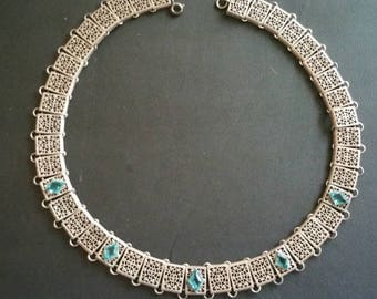 Vintage Edwardian Art Dexo sterling Silver Filigree Paste Collar Necklace