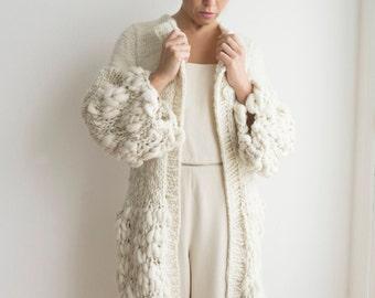 Slouchy Bulky Oversize Cardigan Sweater, Chunky handknit jacket coat, Women Long wool cardigan jacket, Outerwear luxury coat, Organic gift