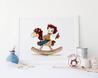 Rocking Horse - Poster nursery decor wall art-  adorable baby cowboy