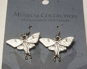 Vintage Museum Collection By Danforth Pewterers New Old Stock Luna Moth 1970's Costume Jewelry Pewter Wire Earrings Gift For Her Best Deal