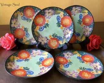 Vintage 1950's Hand Painted Plates Made in Japan, Set of 5, Small Hand Painted Plates, Home Decor, Vintage Japan, Vintage Plates