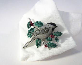 Vintage Bird Brooch/Pin/By JJ/Black -capped Chickadee