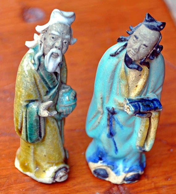 Antique 1900-30s 2 CHINESE MUD FIGURES, Handcrafted, Handpainted, Impressed 'China' Good Vintage Condition