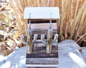 Tucson Cowgirl Mixed Metal Saguaro Cactus Earrings