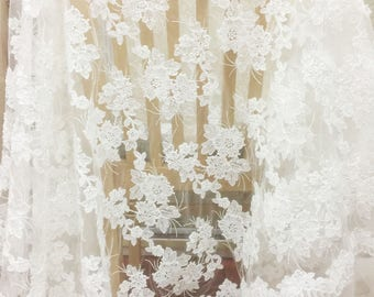 1 Yard 3D Circular Pearl Beaded Alencon Lace Fabric ,French Alencon Lace Farbric with Tiny Pearls