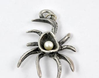 Sterling Silver and Pearl Crab Form Pendant by Modernist Jeweler Christian F. Schmidt