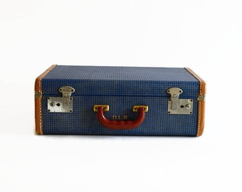 vintage blue check suitcase 1940s travel luggage prop