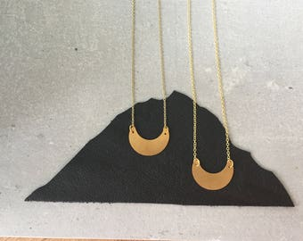On Sale.  DIONE moon necklace, brass jewelry, lunar galaxy cosmic, astronomy, astrology, Humane Society donation