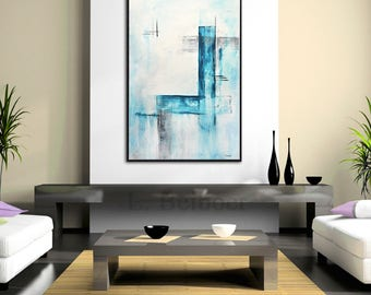 Abstract Painting 24 x 36 original modern art large blue white contemporary acrylic painting cuadro wall art artwork canvas by L.Beiboer