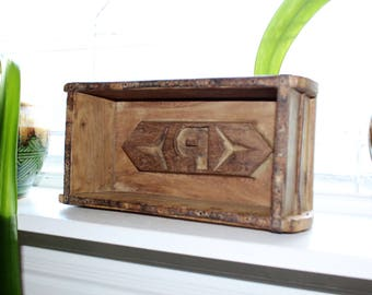 Antique Wood Brick Mold Trinket Box Rustic Shelf Initials P