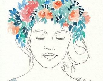 Watercolor Flower Girl Illustration, original watercolor painting, 8x10, flower crown, ink illustration, girls room decor, figure painting