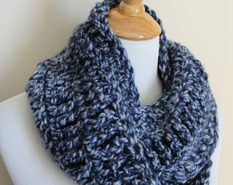 Denim Blue Handmade Infinity Scarf Knit, Circle Scarf, crochet  Cowl , circle scarf crochet, super soft scarf, chunky scarf, winter scarf