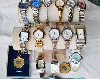 17 pc WATCH LOT Bracelet Cuff Pendant Destash Craft Upcycle Repair Rhinestone Timex Anne Klein Pierre Jacquard .2