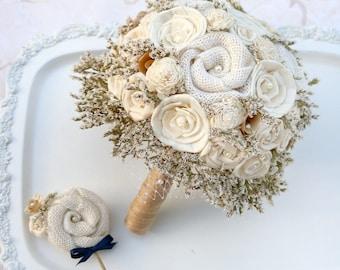 Timeless Grace Wedding Bouquet Set Collection // Ivory Cream, Bridal Bouquet Set, Burlap Bouquet Set, Sola Wood Set, Dried Flower Set