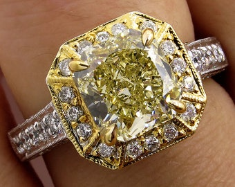 Fine GIA 2.74ctw Estate Vintage Natural Fancy Yellow Radiant Diamond Engagement Wedding Ring