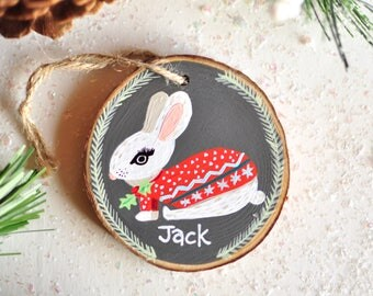 Personalized Ornament Baby, Christmas Gift for Baby boy, Bunny Ornament, Christmas Ornament for Kid, Animal Ornament. New Baby Ornament