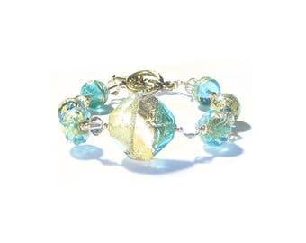 Murano Glass Aqua Green Gold Bead Bracelet, Venetian Glass Jewelry, Gift For her, Toggle Bracelet, Italian Glass Colorful Jewelry