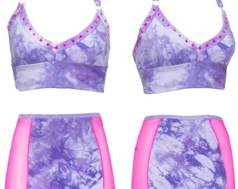 Lavender and Pink Side Mesh High Waisted Underwear