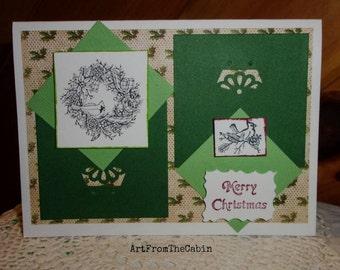 Merry Christmas Card, Bird Card, Green Christmas Card, Handmade Card, Stamped Card, Cardinal, Holly, Simple Joys, ArtFromTheCabin
