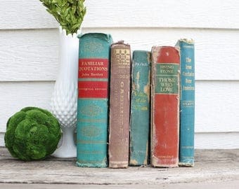 Set of 5 Vintage Books - Antique Book Decor - Photo Props -Wedding Decor- Orange, Turquoise, Gold - Rustic Books - French Country - Old