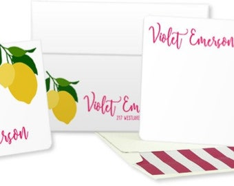 Lemon Personalized Stationery: Set of 25 Personalized Blank Cards. Lemon.  Yellow and Pink. Custom Colors. Gift Set.