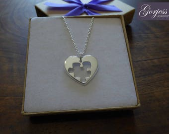 Silver Heart with Puzzle, Thick Silver Pendant Necklace
