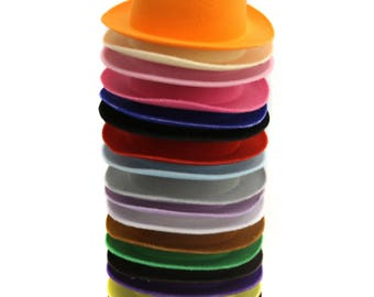 Mini Top Hats - Curved Brim, Oval Shaped - Photography Prop- DIY Craft Supplies - Set of 5