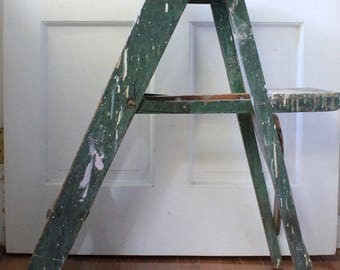 Vintage Folding Wood Step Ladder //  Farm House Green With Paint // Cottage Chic // Shabby Chic