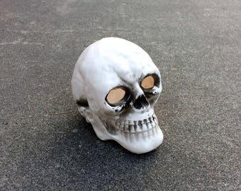 Clay Noggin -- Hollow ceramic skull figurine -- Made in Japan