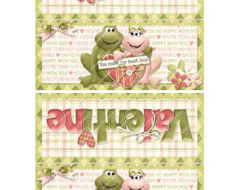 Digital Printable Valentine Bag Topper- Toad - Frog - Treat Bag Topper