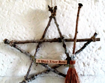 Handmade Pagan Witchy Oak Pentagram With Oak  Besom.  Home Blessing Protection Witch Kitchen