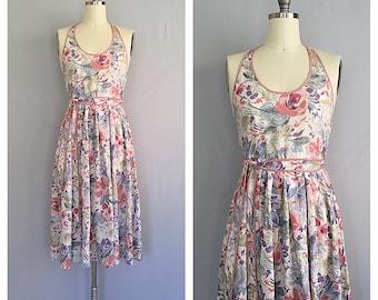Jardin dress | vintage 1970s wrap dress | 70s floral halter neck dress | s - m