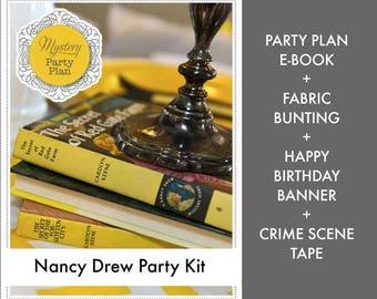 Nancy Drew Party Kit: Party Plan eBook + Nancy Drew Bunting + Happy Birthday Banner + Crime Scene Tape