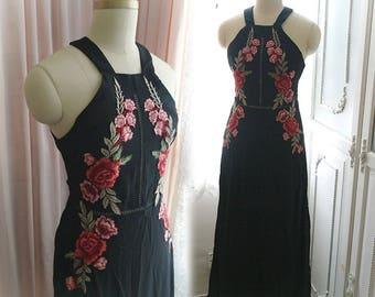 Burlesque Goth Gothic Black chiffon red rose embellish Beach Wedding Dress Maxi Dress backless  Women's Robe retro Gypsy Shabby